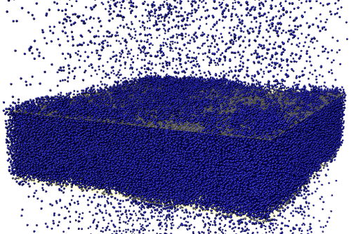 Snapshot of a fluctuating liquid–vapour interface formed by 210,000 particles in a molecular dynamics simulation
