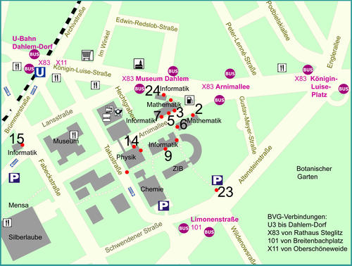 Map of the area: Computer science building is no. 9. Click to enlage.