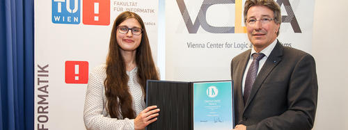 Hanna Elif Lachnitt and Vice Rector for Academic Affairs of TU Wien Kurt Matyas